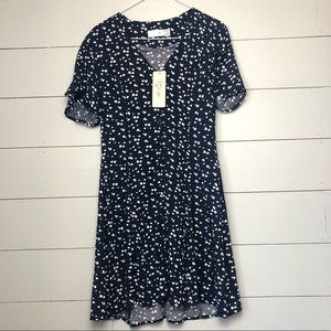 LULU'S Floral Button-up Skater Dress *NWT*